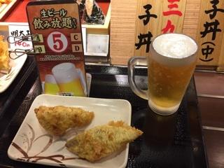 1杯目の生ビール・鰆天・かしわ天