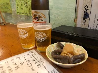 瓶ビール(大瓶)とお通しの煮物