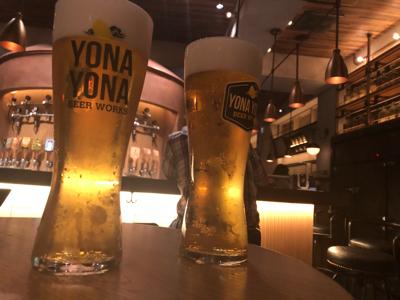 クラフトビール(確か「インドの青鬼」と「サンサン」)