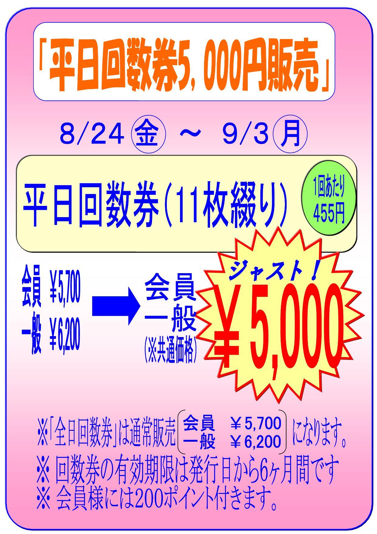 平日回数券5000円