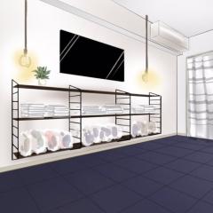 壁面収納string shelfのシミュレーション