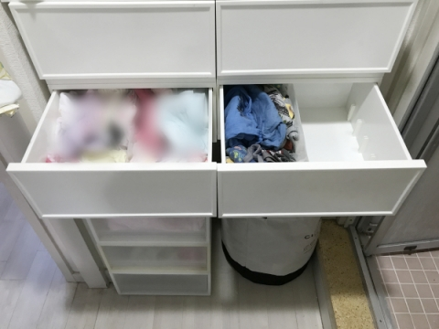 洗面所にパジャマと下着を収納する場合 (9)