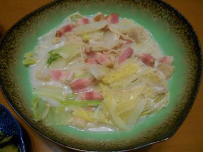 9.10白菜とエノキのミルク煮