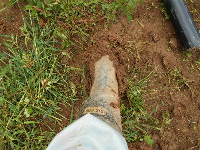 9.17長靴に泥がこびりつく