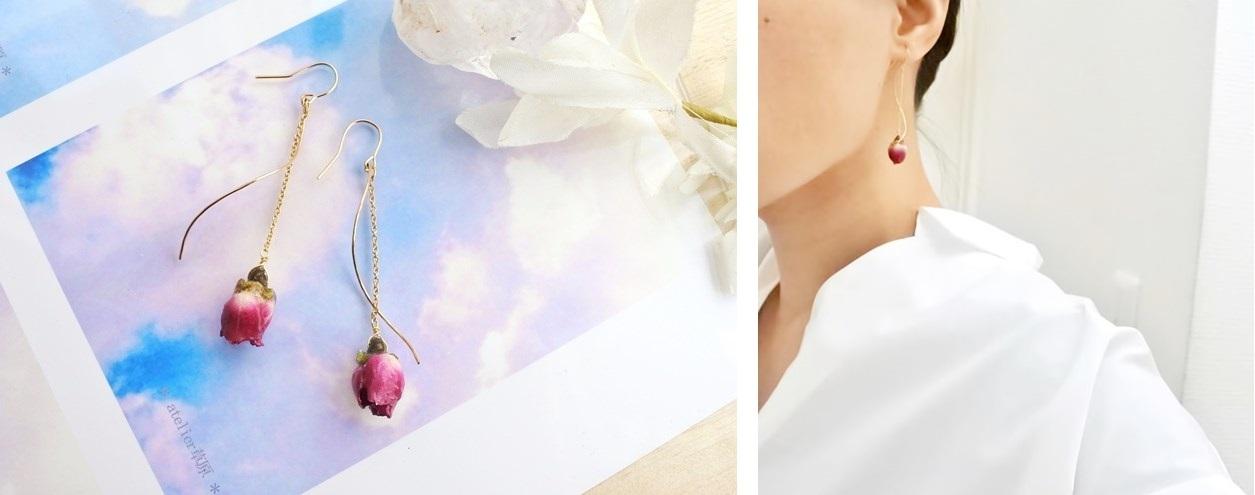 バラの花ピアス1