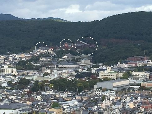 京都タワー展望台から清水寺方面_H29.11.04撮影