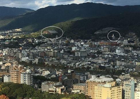 京都タワー展望台から霊山観音_H29.11.04