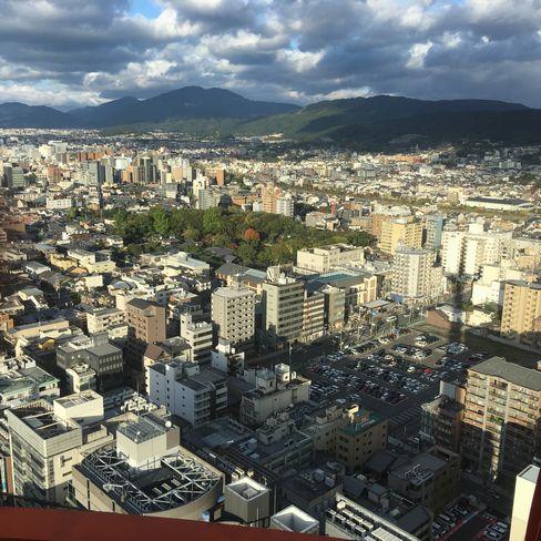 京都タワー展望台から渉成園_H29.11.04撮影