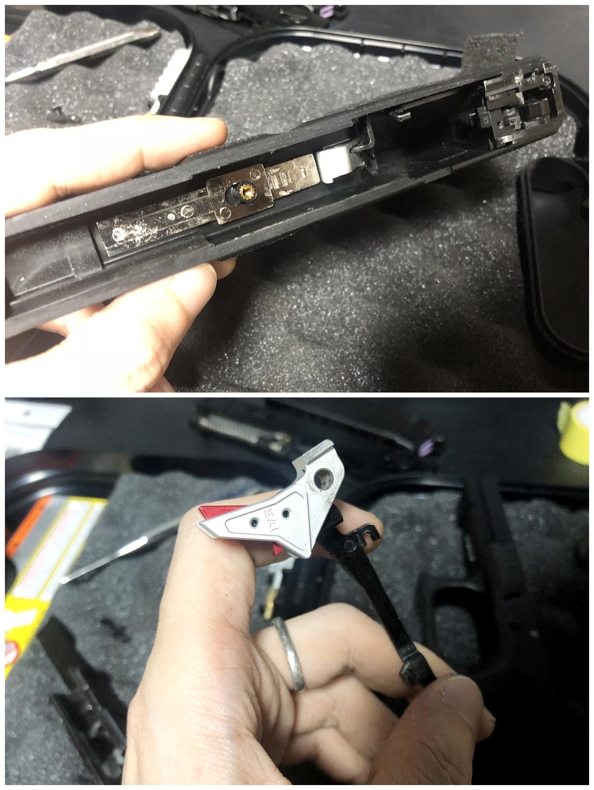 8 GLOCK 18C GBB スライドの動作不良を修理するぞ! GUARDER スチール トリガーバー & ガーダー スチール ノッカーロック 購入 分解 取付 修理 加工