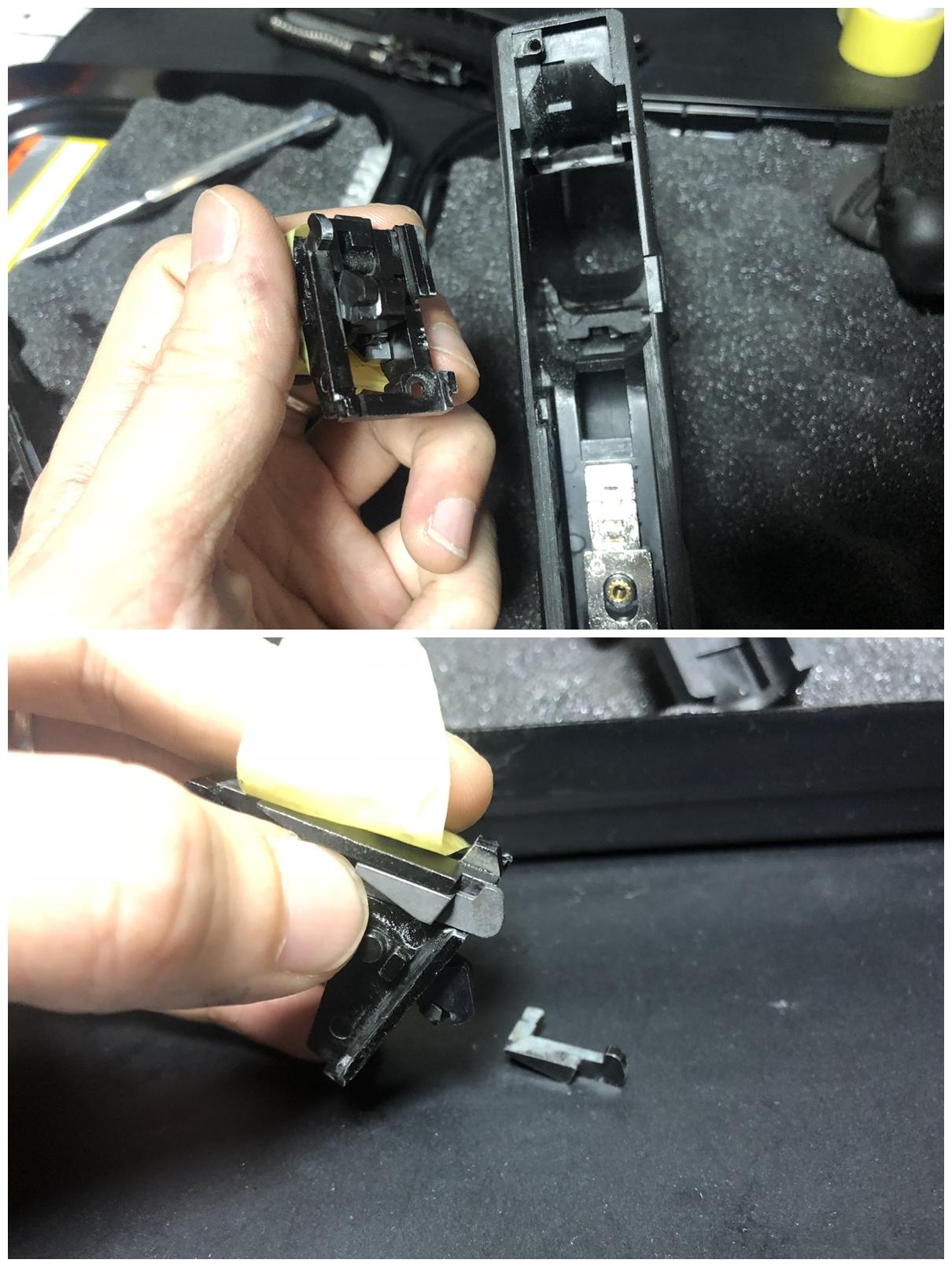 9 GLOCK 18C GBB スライドの動作不良を修理するぞ! GUARDER スチール トリガーバー & ガーダー スチール ノッカーロック 購入 分解 取付 修理 加工