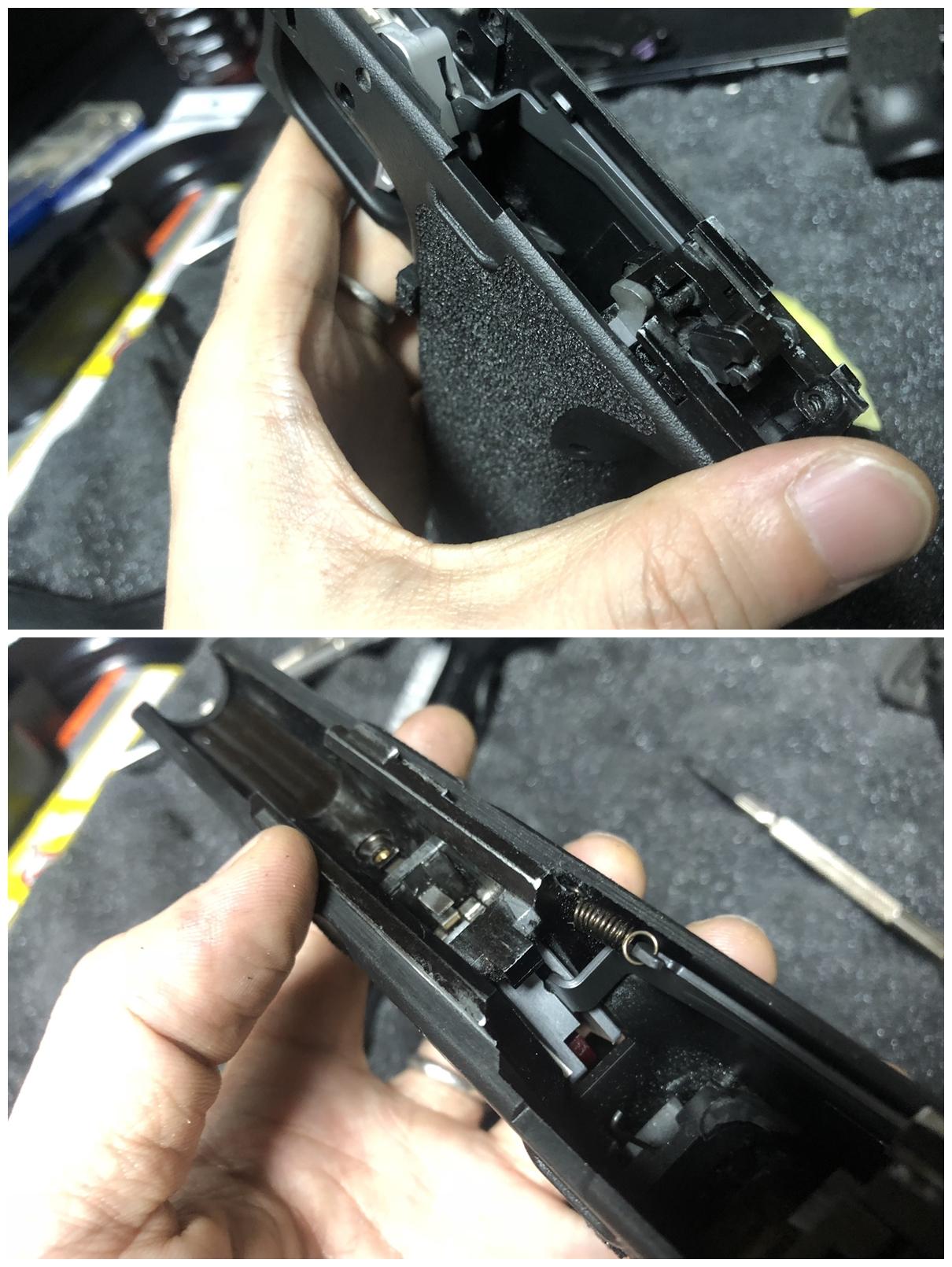 12 GLOCK 18C GBB スライドの動作不良を修理するぞ! GUARDER スチール トリガーバー & ガーダー スチール ノッカーロック 購入 分解 取付 修理 加工