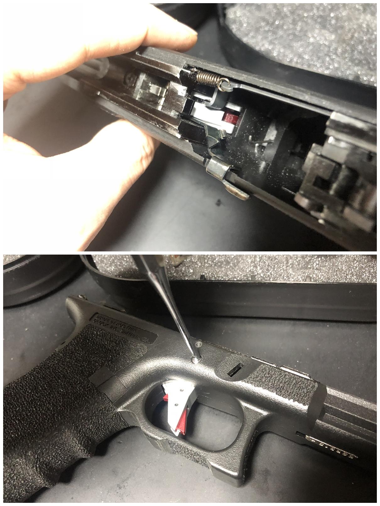 13 GLOCK 18C GBB スライドの動作不良を修理するぞ! GUARDER スチール トリガーバー & ガーダー スチール ノッカーロック 購入 分解 取付 修理 加工