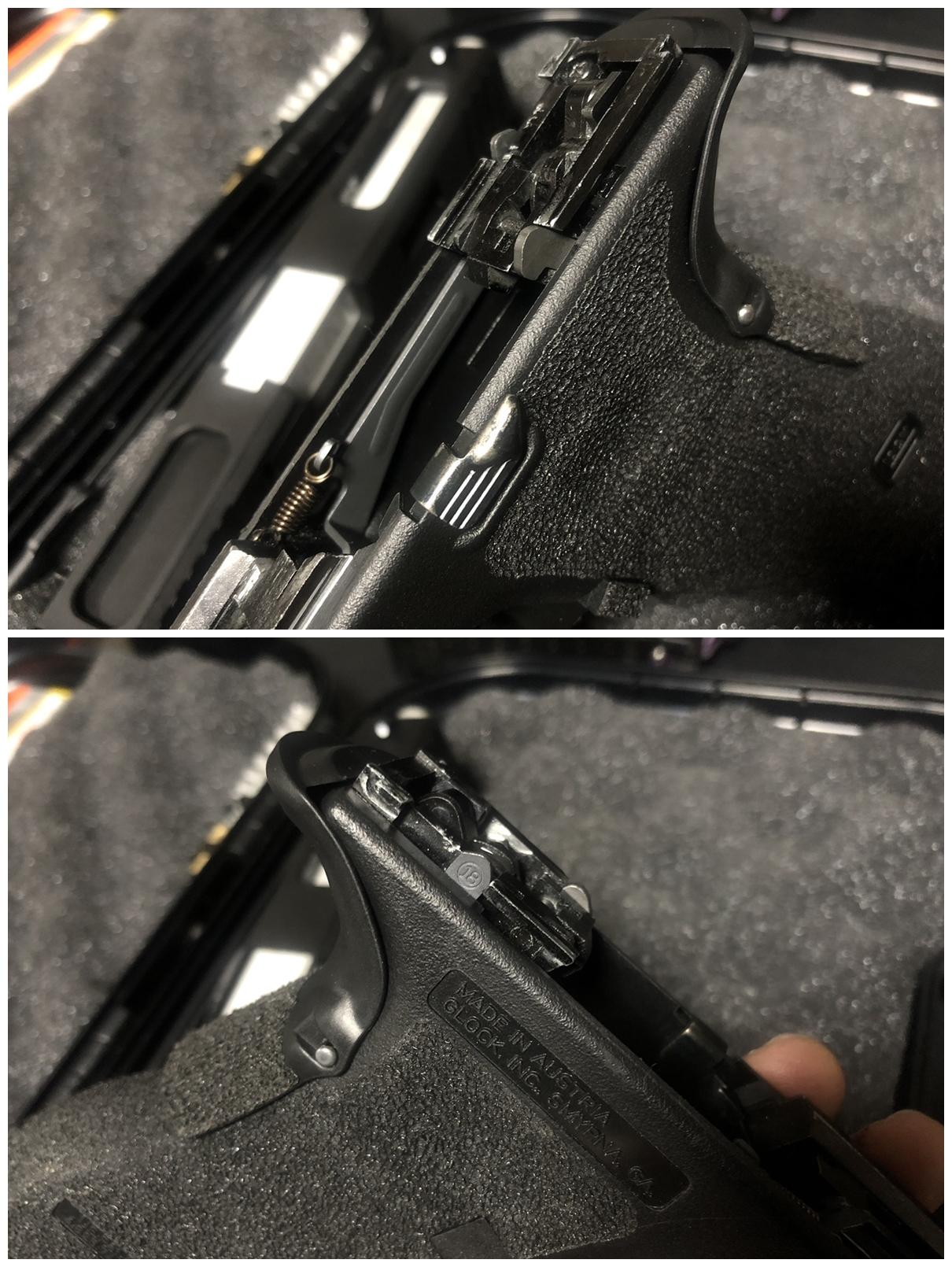 14 GLOCK 18C GBB スライドの動作不良を修理するぞ! GUARDER スチール トリガーバー & ガーダー スチール ノッカーロック 購入 分解 取付 修理 加工