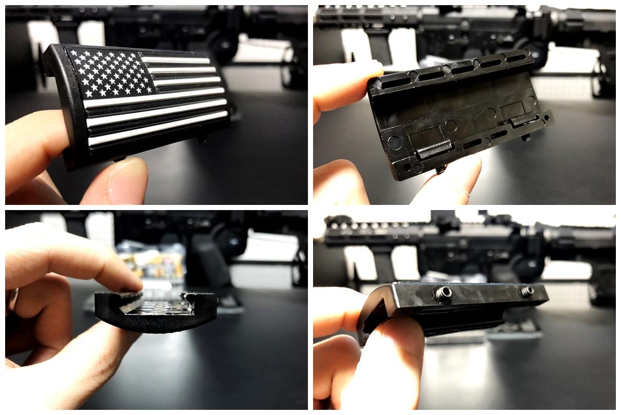 5 実物 CUSTOM GUN RAILS RAIL COVER !! PVC AMERICAN FLAG !! CUSTOM AR 15 次世代 M4 CQB-R NOVESKE N4 レイルカバー 購入 開封 取付 レビュー