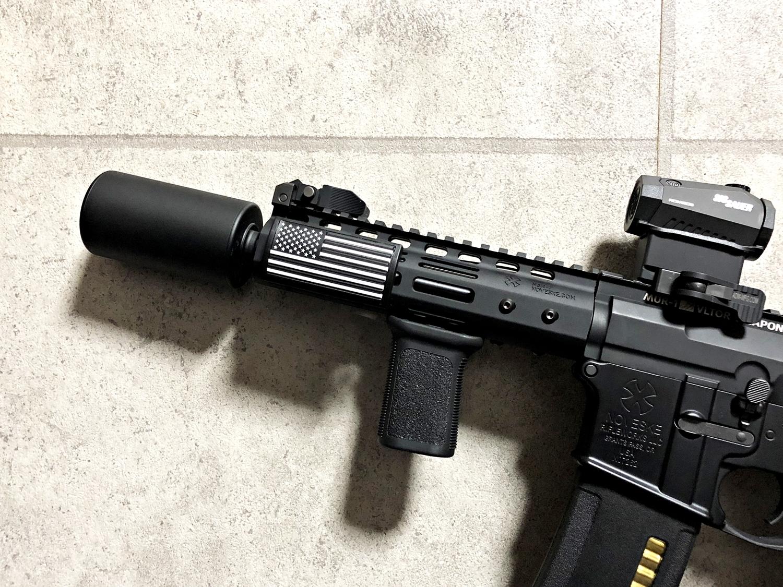 10 実物 CUSTOM GUN RAILS RAIL COVER !! PVC AMERICAN FLAG !! CUSTOM AR 15 次世代 M4 CQB-R NOVESKE N4 レイルカバー 購入 開封 取付 レビュー