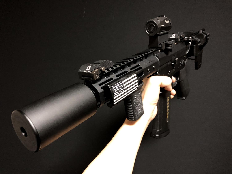 14 実物 CUSTOM GUN RAILS RAIL COVER !! PVC AMERICAN FLAG !! CUSTOM AR 15 次世代 M4 CQB-R NOVESKE N4 レイルカバー 購入 開封 取付 レビュー