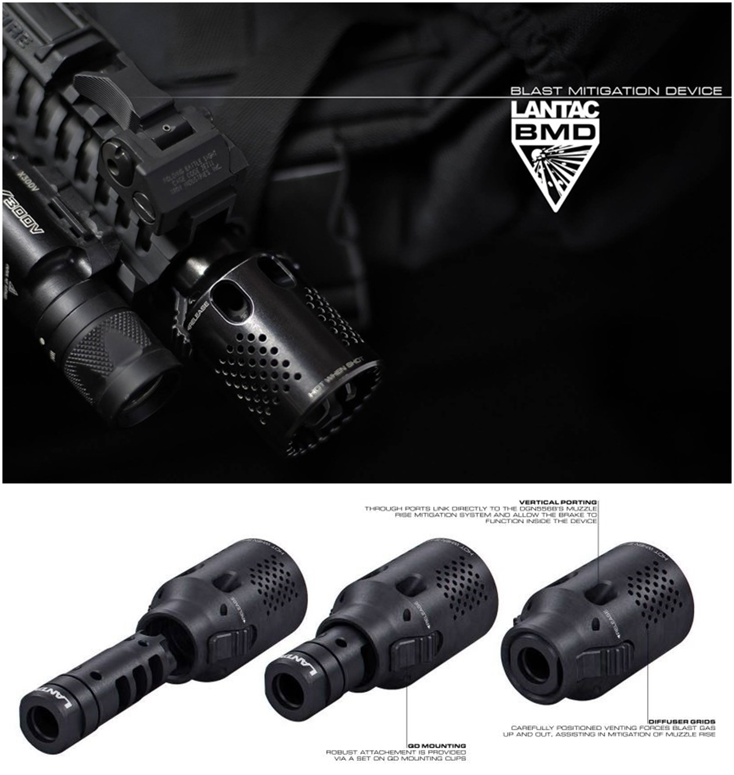 17-2 実物 LANTAC × NOVESKE MARKED DRAGON MUZZLE BRAKE 556 ドラゴン マズル ブレイク ノベスケ ハイダー 購入 取付 カスタム レビュー LANTAC USA BMD Blast Mitigation Device, Complete with A2 Adapter Coll