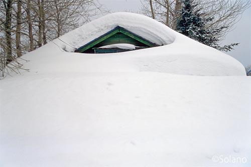 雄信内駅前の集落、雪に埋もれる家屋の廃墟