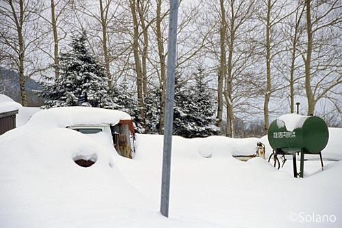 雄信内駅前、雪に埋もれるトラックの廃車体