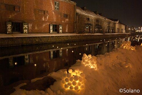 小樽雪あかりの路、冬の小樽運河とスノーキャンドル