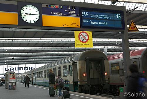 ミュンヘン中央駅、イタリア方面行きの国際特急・ユーロシティ