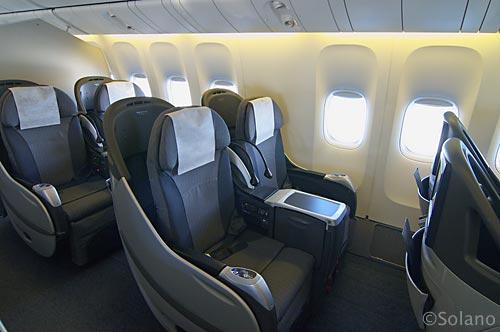 JAL・B777ビジネスクラス座席、シェルフラットシート