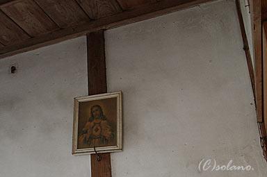 西大塚駅、畳敷き休憩室のキリストの肖像画