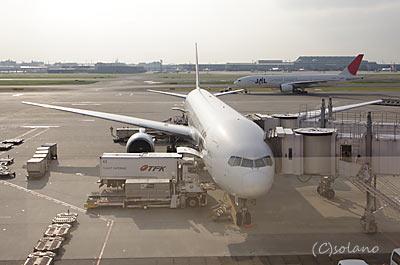 羽田空港、国内線サクララウンジから見るJALB777-300