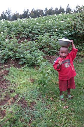 ゴリラトレッキング一行を見送るルワンダの子供