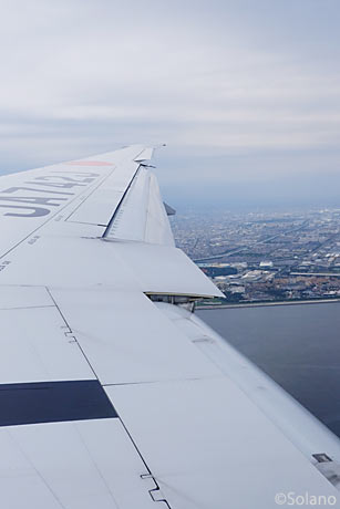 JALロンドン線、羽田着陸前の東京湾上の眺め