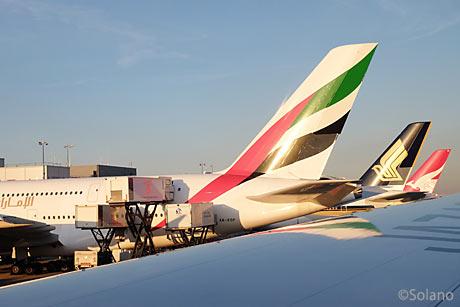 ロンドン・ヒースロー空港に集うA380。EK、SQ、QF。