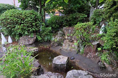 JR佐世保線・有田駅、1番線隅の枯れた池のある庭園跡