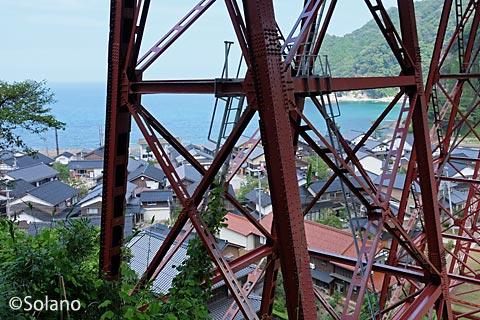 餘部駅、余部鉄橋の遺構と駅側の集落・日本海