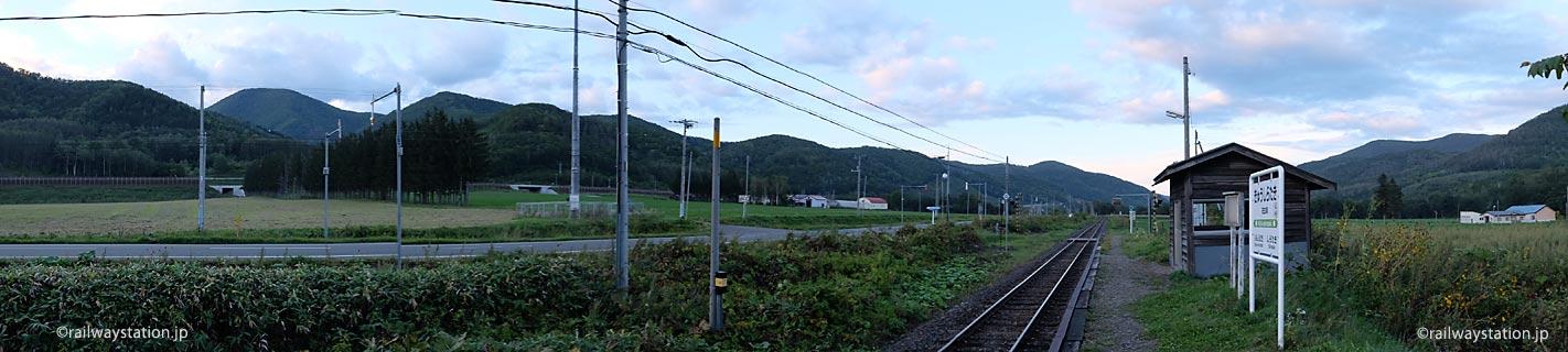 旧白滝駅と周辺の風景、パノラマ画像