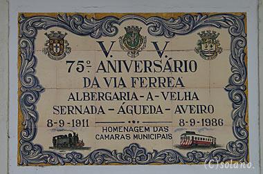 アヴェイロ駅、列車を描いたアズレージョ