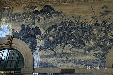 ポルト・サンベント駅、戦争のアズレージョ