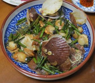 アスパラガスとホタテの炒め