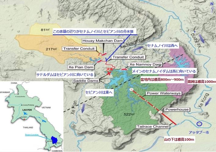 2018-8-4ラオスのダム事故現場周辺の地図