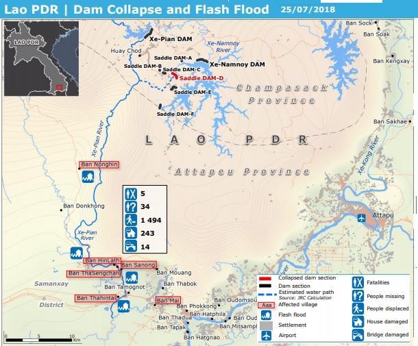 2018-8-28ラオスのダム決壊事故関連地図7月25日