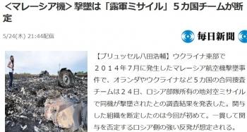 news<マレーシア機>撃墜は「露軍ミサイル」5カ国チームが断定