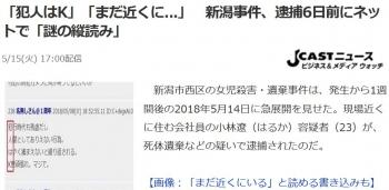 news「犯人はK」「まだ近くに」 新潟事件、逮捕6日前にネットで「謎の縦読み」