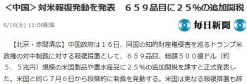 news<中国>対米報復発動を発表 659品目に25%の追加関税