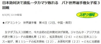 news日本勢対決で波乱…タカマツ敗れる バド世界選手権女子複3回戦