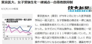 news東京医大、女子受験生を一律減点…合格者数抑制