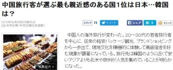 news中国旅行客が選ぶ最も親近感のある国1位は日本…韓国は?