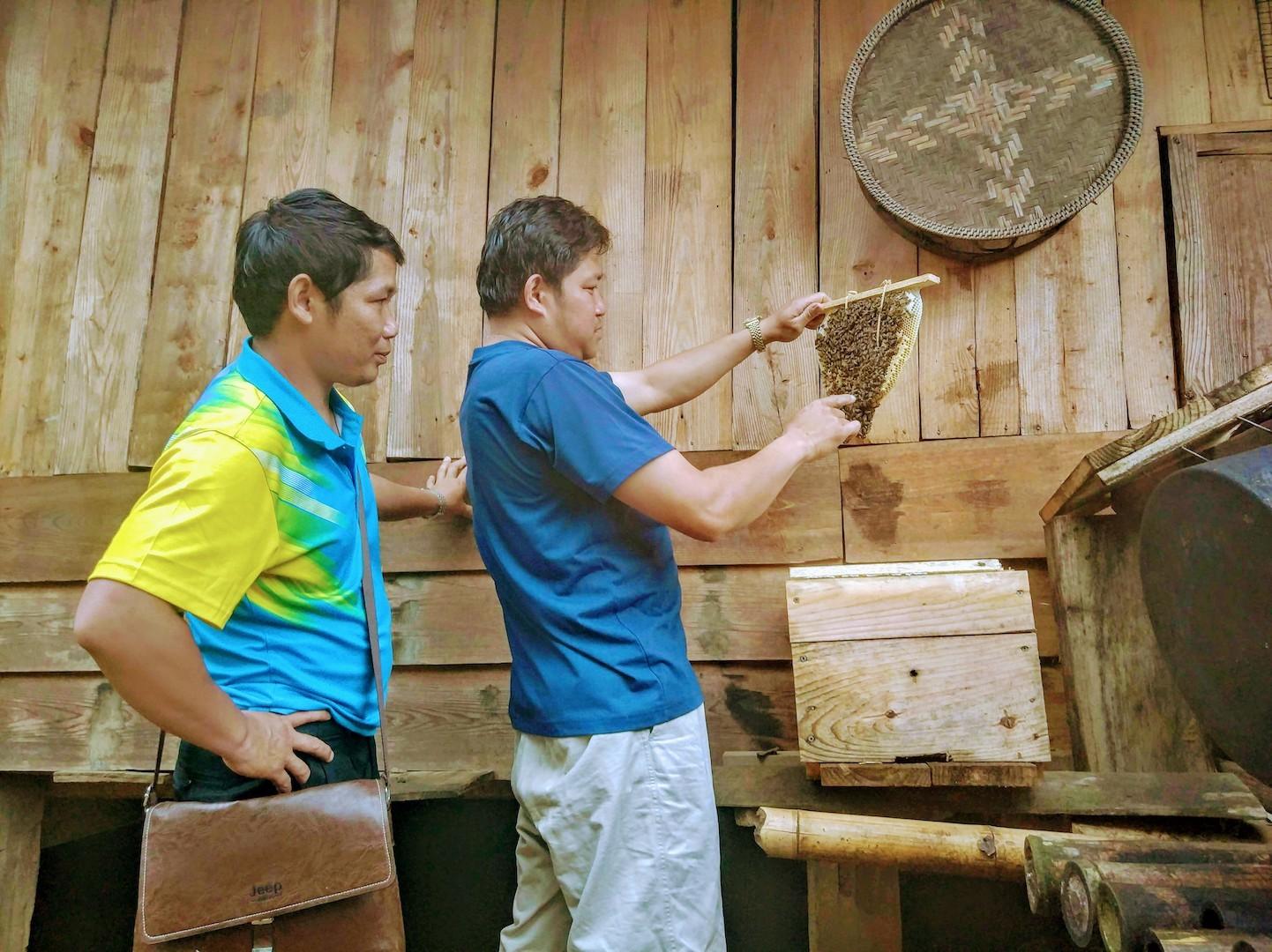 養蜂巣箱の中の状態を養蜂専門家のコンさん(左)と確認するシポンさん(右)(2018年5月江角撮影)