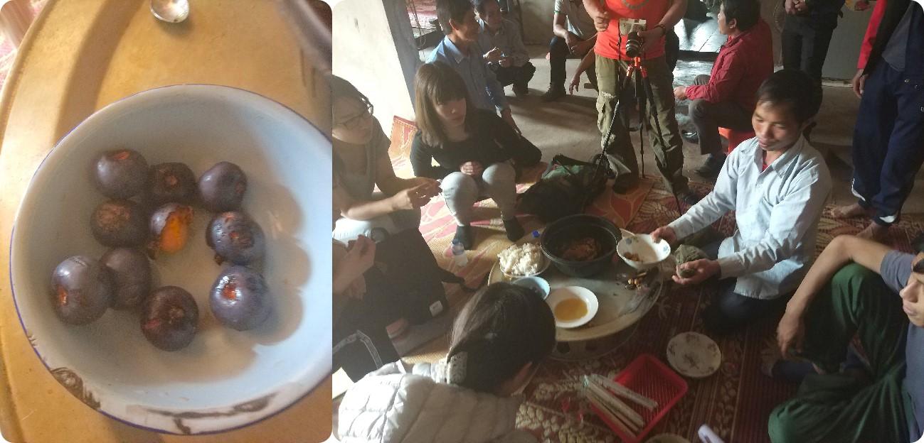 今年2月に植生調査で自宅を訪問したときに振舞ってくれた天然のお菓子:蜂蜜とマック・コー(写真左)