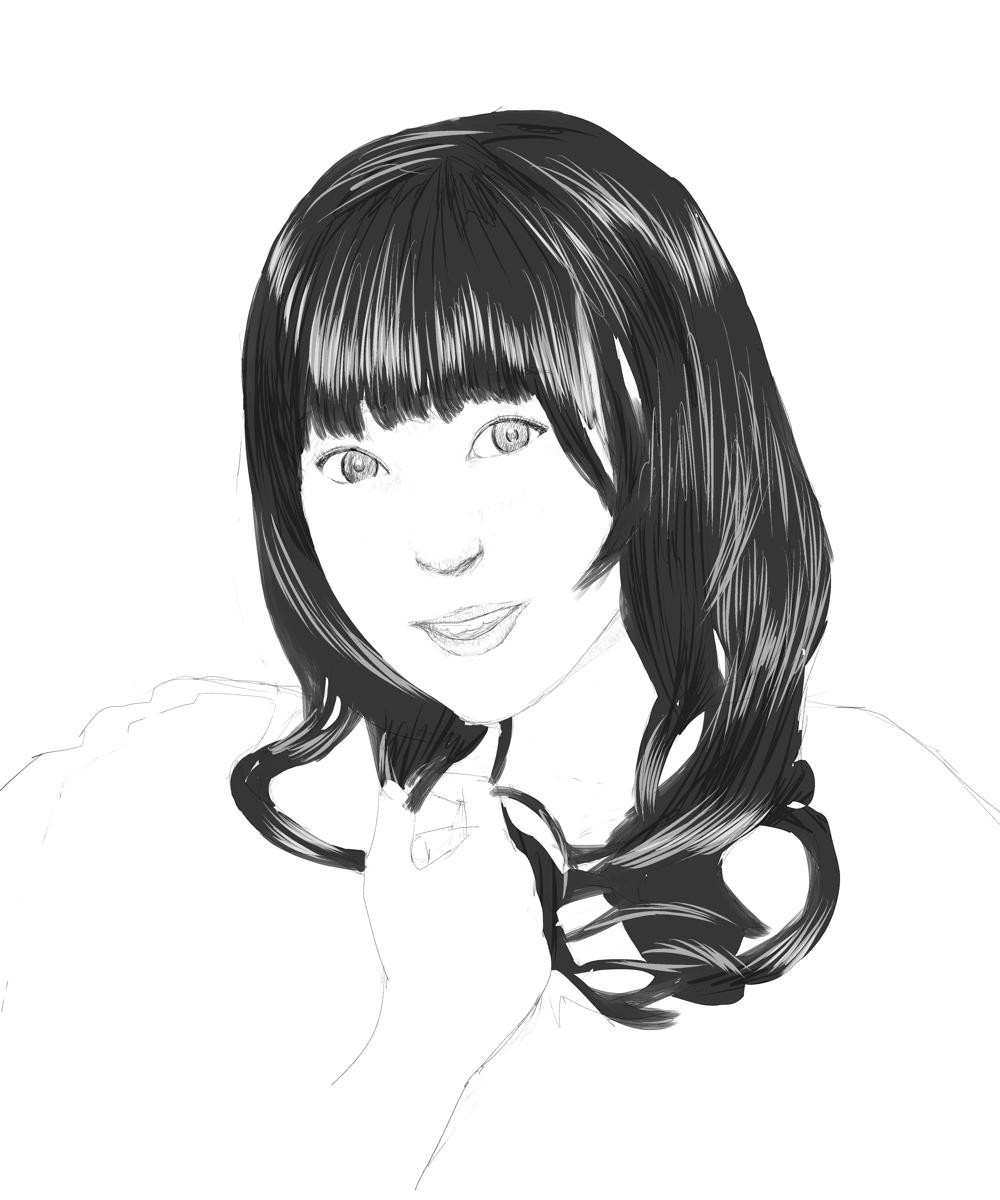 女性声優の阿澄佳奈を描く スケッチ