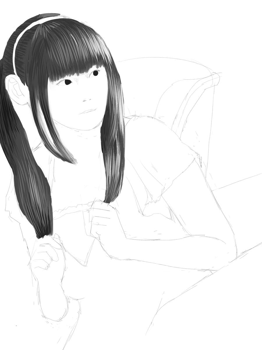 田村ゆかりを描く スケッチ