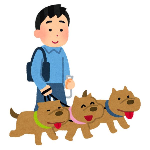 犬の散歩 多頭飼い いらすとや
